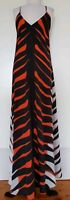 WAYNE BY WAYNE COOPER Balck/Orange/Grey Maxi Dress Size 8