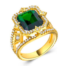 18k Yellow Gold Plated Gorgeous Jewelry Green Emerald Wedding Ring Size 7