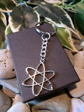 Handmade Atom Silver Plated Keyring/bag Charm Dad Father Gift. Gift Boxed