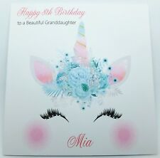 Personalised Birthday Card Unicorn Face Handmade Daughter Granddaughter Niece