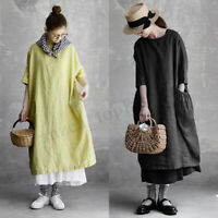 S-5XL ZANZEA Women's Kaftan Shirt Dress 3/4 Sleeve Batwing Oversize Midi Dress
