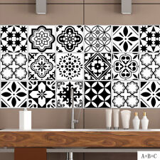 LK_ Nordic Black and White Tile Stickers Wall Paper Sticker Decal Home Decor E