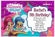 1 x SHIMMER AND SHINE BIRTHDAY PARTY PERSONALISED INVITATIONS + FREE MAGNETS