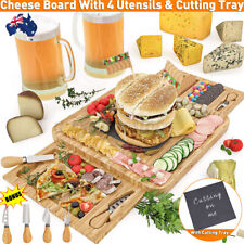 14.8'' Bamboo Wood Charcuterie Cheese Board Tray 4x Cutlery Cutter Set 2 Drawer