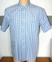 "Mens Lacoste Shirt Genuine S/Sleeve Blue White Check Button Down L Pit - Pit 23"""