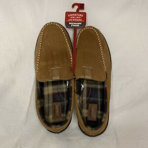 NWT Men's Signature by Levi Strauss Memory Foam Slippers Brown size 11/12