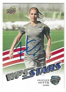 Heather Mitts Signed 2010 Upper Deck WPS Stars Womens Soccer Card #196