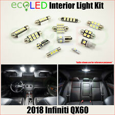 For 2018 Infiniti QX60 WHITE LED Interior Light Accessories Replacement Kit 11PC