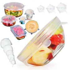 12x Silicone Bowl Cover Lids Stretch Suction Lid Pan Cooking Pot Cover Kitchen