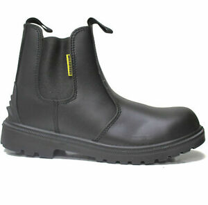 MENS DEALER BOOTS CHELSEA LIGHTWEIGHT LEATHER SAFETY WORK STEEL TOE CAP SHOES