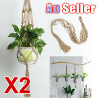 2X Vintage Basket Macrame Plant Hanger ZX Hanging Rope Garden Flower Pot Holder