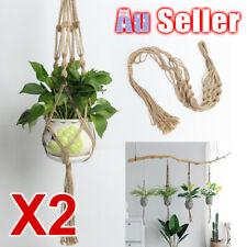 2X Vintage Basket Macrame Plant Hanger ZX Hanging Rope Garden Flower Pot Holder