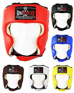 RingMaster Leather Head Guard Boxing Gear Training Punch MMA Kick Sparring Kick