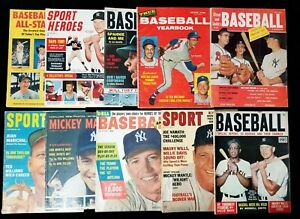 Lot of 10) 1950s 60s Mickey Mantle Choice Magazines Sports Illustrated 1956 Dell