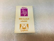 1981 Minnesota Vikings Gophers Football Pocket Schedule Minnesota League Credit