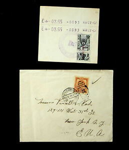MEXICO 1905-37 2c REVENUE STAMP ON TELEGRAPH CARD+1v ON COVER TO USA