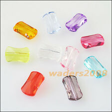 50 New Charms Plastic Acrylic Faceted Rectangle Spacer Beads Mixed 9x14.5mm