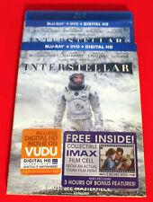 Interstellar (Blu Ray+  DVD,  3 DISCS 2015) + IMAX FILM CELL, VG- FREE SHIPPING!
