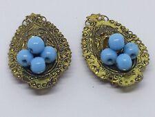 Lovely Art Nouveau Brass & Light Blue Glass Beads Brooch / Dress Clip/ Shoe Clip