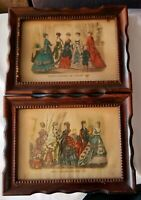 Vintage Original Godey's Fashions Framed Picture Wall Hanging 6.5 X 8.5