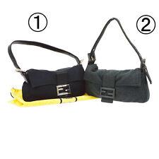 Auth FENDI Manma Bucket Shoulder Bag 2 Set Gray Black Nylon Wool Vintage A33930