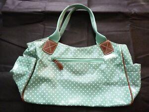 NEW, UNUSED Polka Dot Green & White Zipped Large Shoulder Bag / Handbag