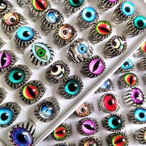 Bulk lots 50pcs Wholesale Mix Eye Ring Men Women Punk Evil Eye Rings Man Gift