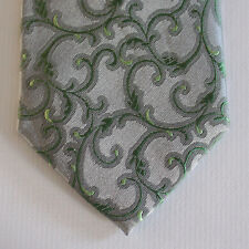 NEW Skinny Alfani Silk Neck Tie Light Gary with Green Florals 1574