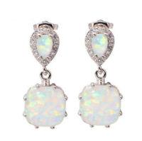 925 Silver Opal Moonstone Earrings Wedding Dangle Drop Ear Hook Women Jewelry