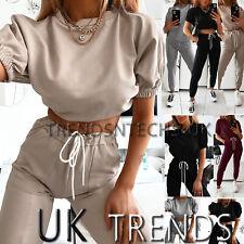 UK Womens 2 PCS Crop Top Tracksuits Set Ladies Joggers Active Loungewear Puff