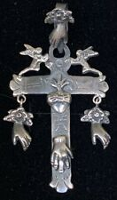 Large VTG Style Mexican Sterling Silver Milagros Cross Pendant - Oaxaca Mexico