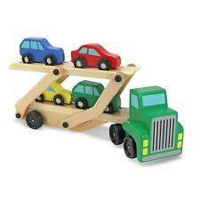 Melissa & Doug Wooden Transporter, Car Carrier Truck Toy Set for 3-6 Years Old