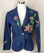 Carrie Allen S Floral Sparkle Sequin Embellished Spring Summer Denim Jean Jacket