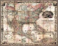 Map Antique Colton 1857 Unites States America Large Replica Canvas Art Print