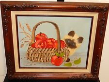GWEN STACK CAT BEHIND THE APPLE BASKET ORIGINAL OIL ON CANVAS PAINTING