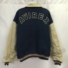 Vintage Avirex Spell Out Letterman Varsity Jacket Men's 5X Blue Beige
