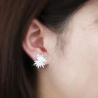 Sunshine Stud Earrings for Women 14k White Gold Filled White Sapphire Earrings