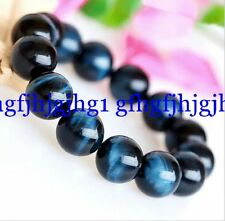 Natural AAA 8mm Blue Tiger's eye beads Bracelet Bangle 7.5''