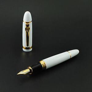 Promotion Jinhao 159 General White Fountain Pen Golden Clip Medium Nib