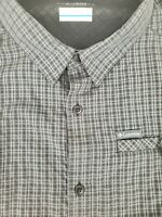 Columbia Mens Long Sleeve Button Front Gray Plaid Shirt Omni Shade Size 2XL XXL