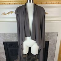 SAKS FIFTH AVE 5/48 S Gray Long Sleeve Asymmetric Duster Cotton Blend Cardigan