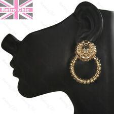 RETRO gold fashion LION HEAD doorknocker TWIST HOOP EARRINGS hoops vintage style