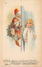 Hello dearie...MERRY CHRISTMAS Santa Claus & Little Girl Vintage Postcard c1910s