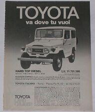 Advert Pubblicità 1978 TOYOTA LAND CRUISER BJ 40