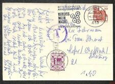 GERMANY TO AUSTRIA POSTAGE DUE STAMP FLOWER CANCEL POSTCARD 1968