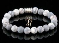 Jaspis Armband Bracelet Perlenarmband Buddha weiß grau matt 8mm