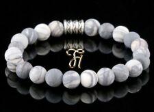 Jaspis Armband Bracelet Perlenarmband Buddha weiß grau matt