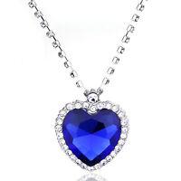Titanic Coeur de l'océan Sapphire Blue CZ collier en cristal