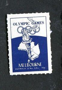 Vintage Poster Stamp Label 1956 OLYMPIC GAMES MELBOURNE Australia Olympics