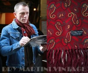 VINTAGE 60s TOOTAL FRINGED SCARF RED WINE PAISLEY MOD DAPPER SCOOTER SUPERB COND